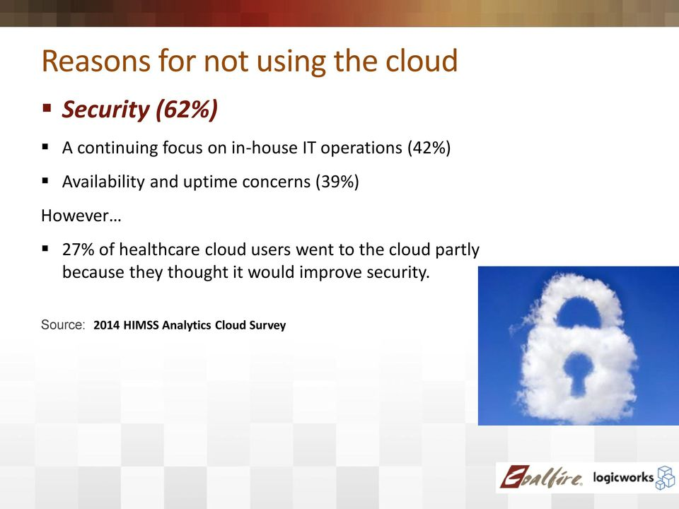 However 27% of healthcare cloud users went to the cloud partly because