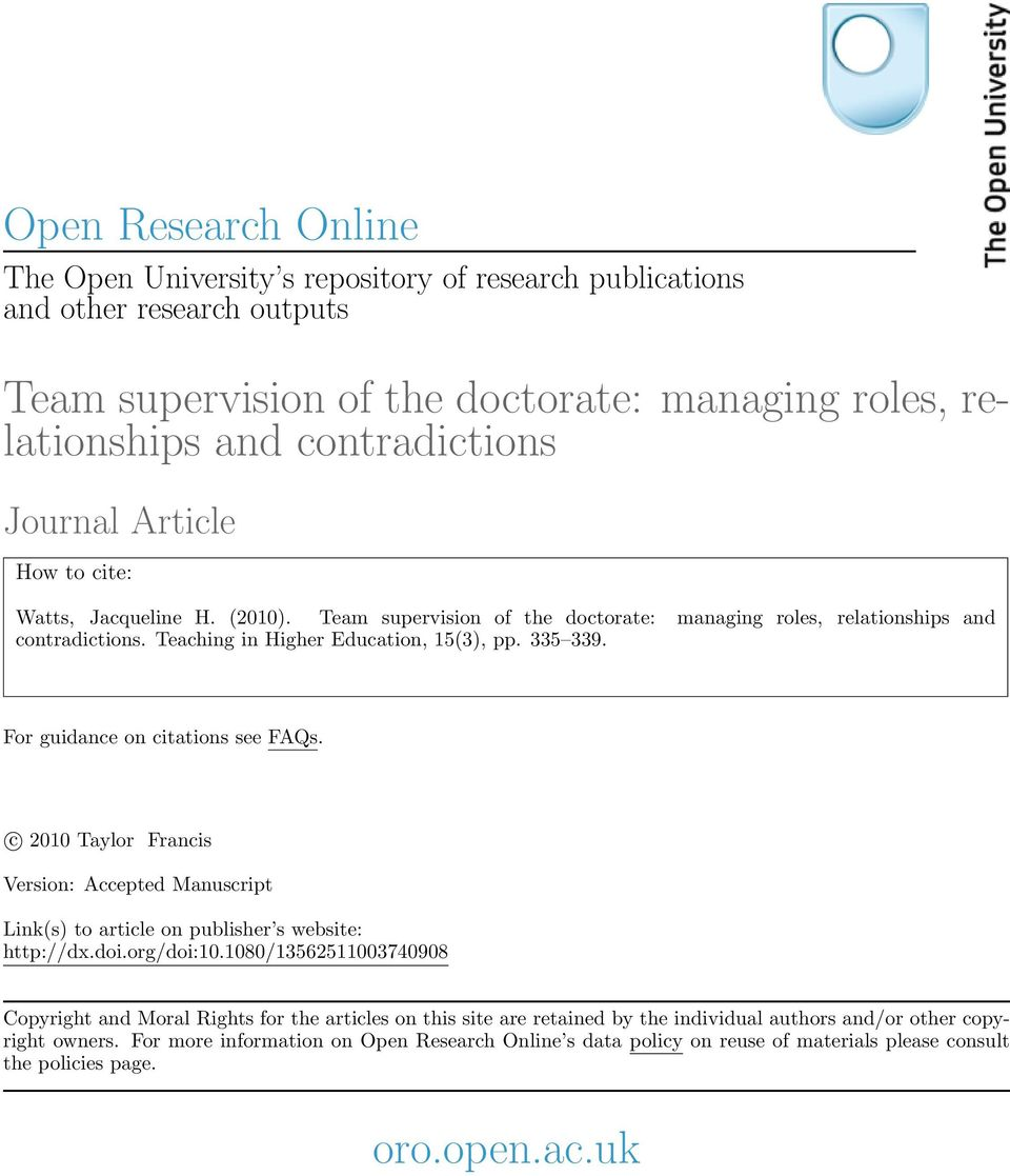 For guidance on citations see FAQs. c 2010 Taylor Francis Version: Accepted Manuscript Link(s) to article on publisher s website: http://dx.doi.org/doi:10.