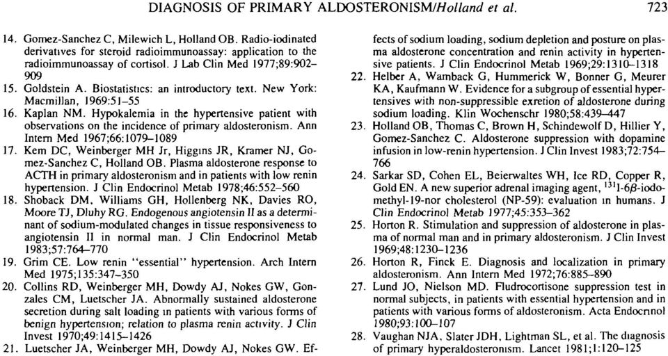 New York: Macmillan, 1969:51-55 16. Kaplan NM. Hypokalemia in the hypertensive patient with observations on the incidence of primary aldosteronism. Ann Intern Med 1967 ;66:1079-1089 17.
