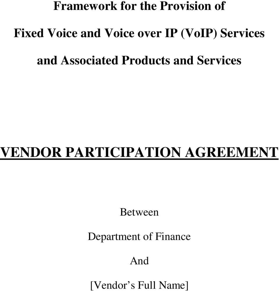 Products and Services VENDOR PARTICIPATION