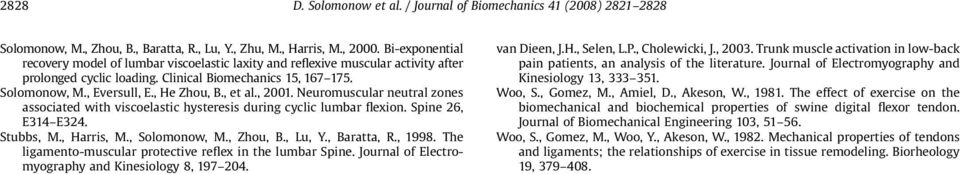 , et al., 2001. Neuromuscular neutral zones associated with viscoelastic hysteresis during cyclic lumbar flexion. Spine 26, E314 E324. Stubbs, M., Harris, M., Solomonow, M., Zhou, B., Lu, Y.