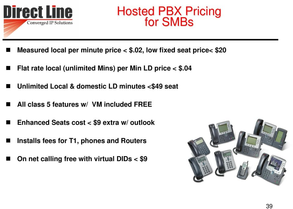 04 Unlimited Local & domestic LD minutes <$49 seat All class 5 features w/ VM included FREE