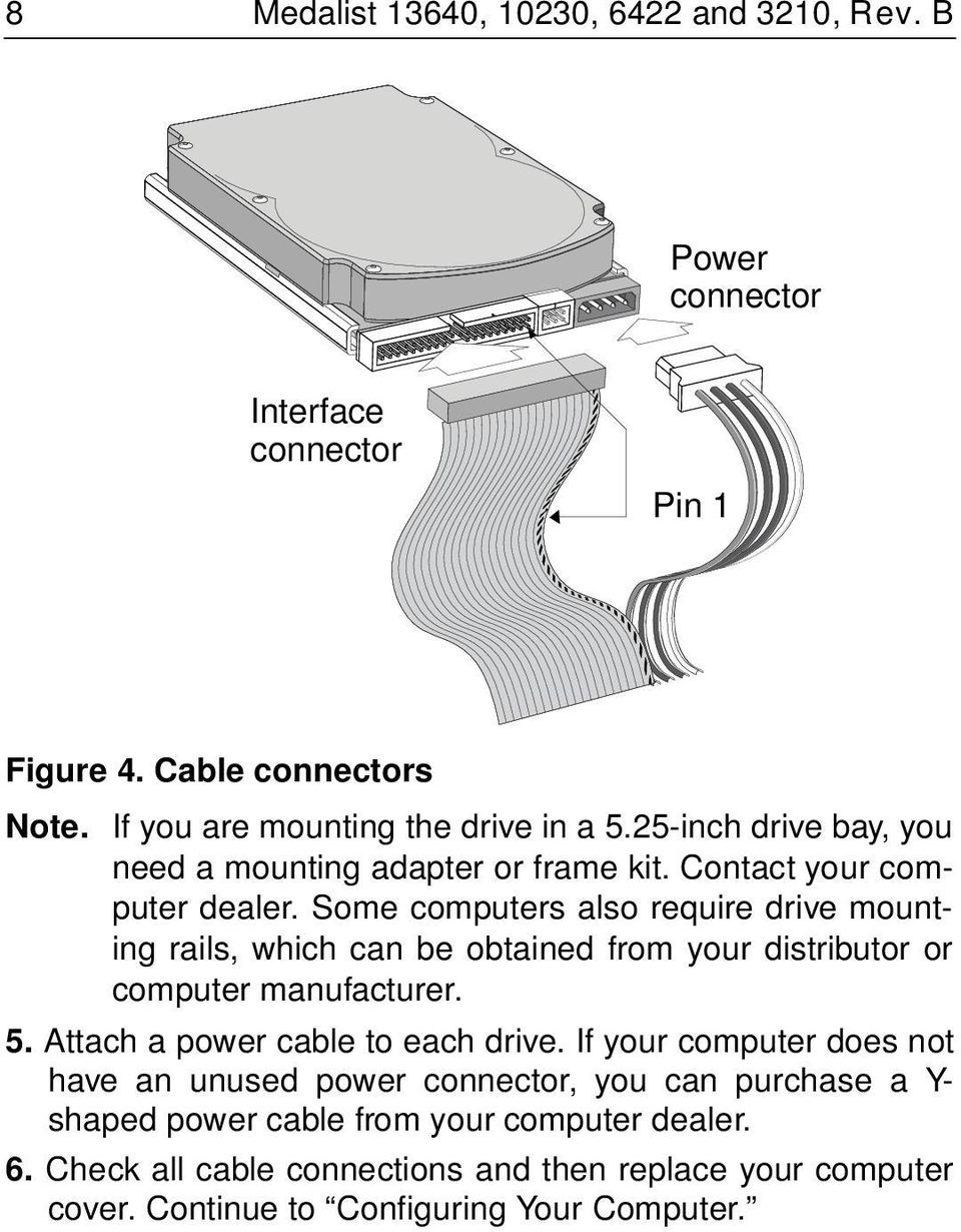 Some computers also require drive mounting rails, which can be obtained from your distributor or computer manufacturer. 5. Attach a power cable to each drive.