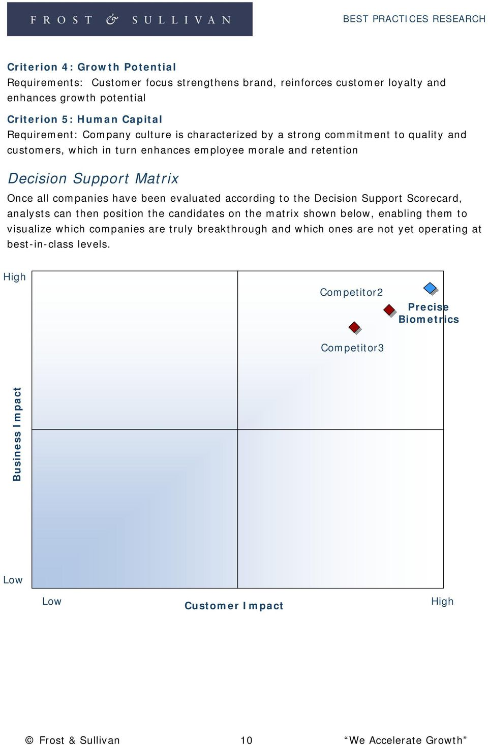 evaluated according to the Decision Support Scorecard, analysts can then position the candidates on the matrix shown below, enabling them to visualize which companies are truly