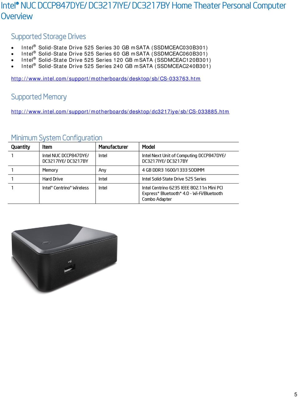 com/support/motherboards/desktop/sb/cs-033763.htm Supported Memory http://www.intel.com/support/motherboards/desktop/dc3217iye/sb/cs-033885.