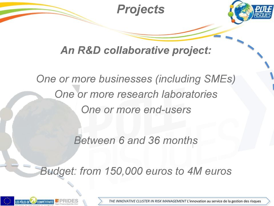 and 36 months Budget: from 150,000 euros to 4M euros THE INNOVATIVE