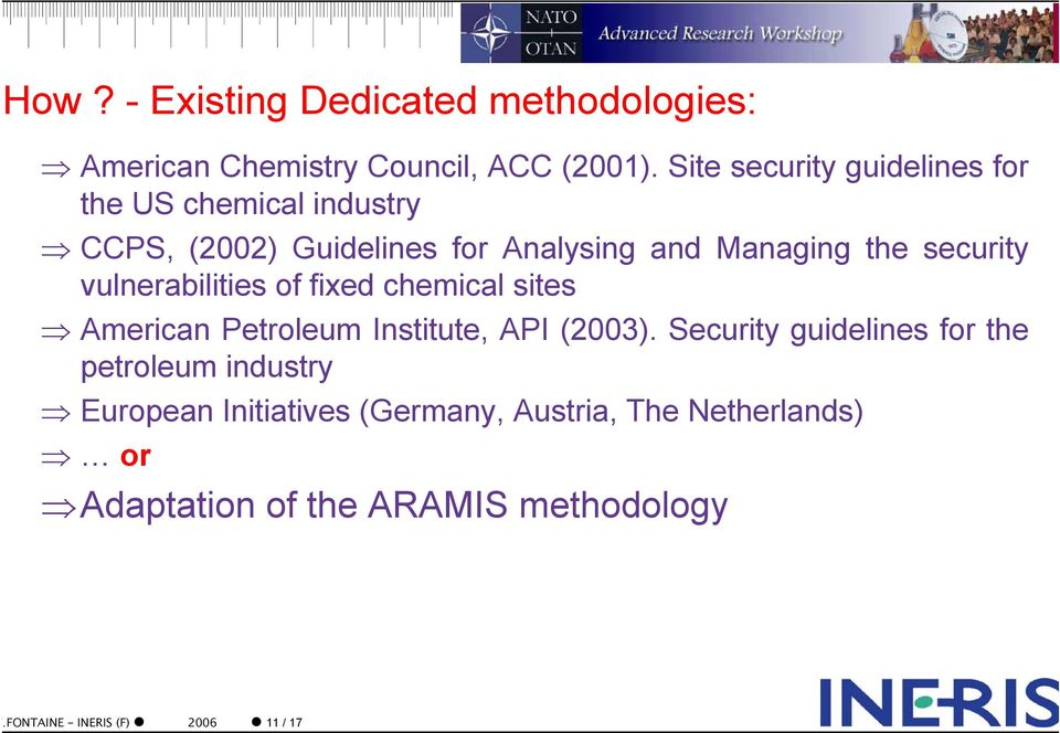 security vulnerabilities of fixed chemical sites American Petroleum Institute, API (2003).