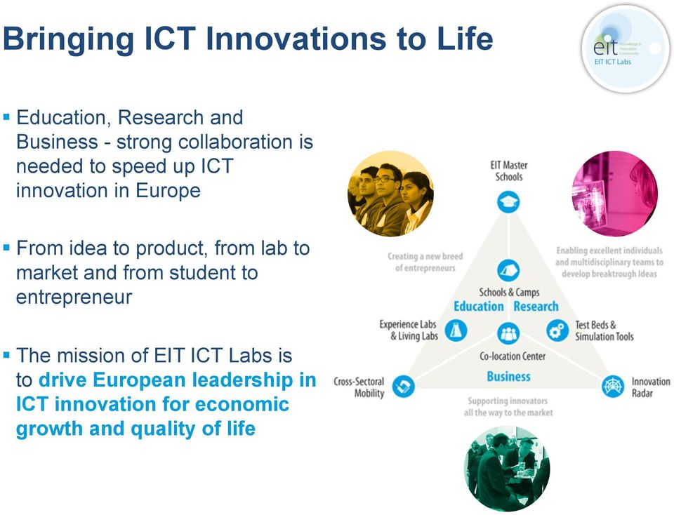 product, from lab to market and from student to entrepreneur The mission of EIT