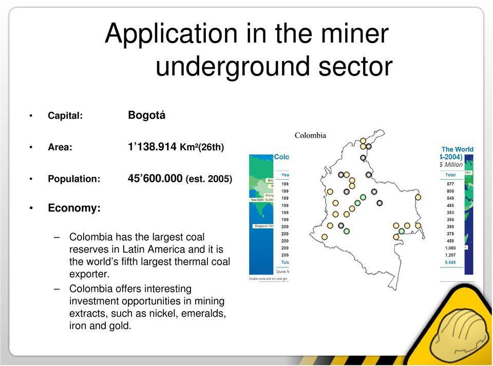 000 Total of exports Mining sector Colombia has the largest coal reserves in Latin America and it is the world s fifth largest thermal