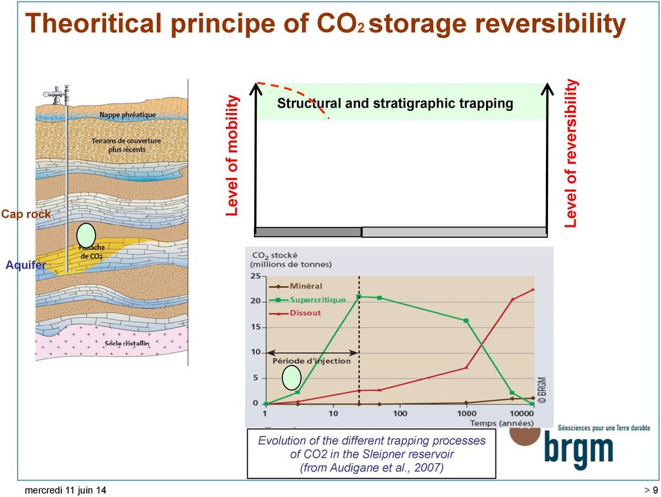 Aquifer Evolution of the different trapping processes of CO2 in the