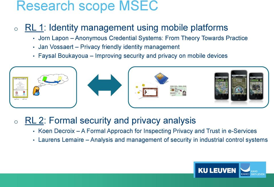 and privacy on mobile devices o RL 2: Formal security and privacy analysis Koen Decroix A Formal Approach for