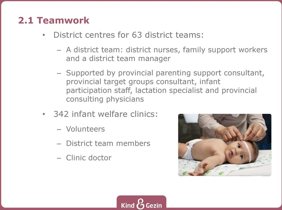 provincial target groups consultant, infant participation staff, lactation specialist and