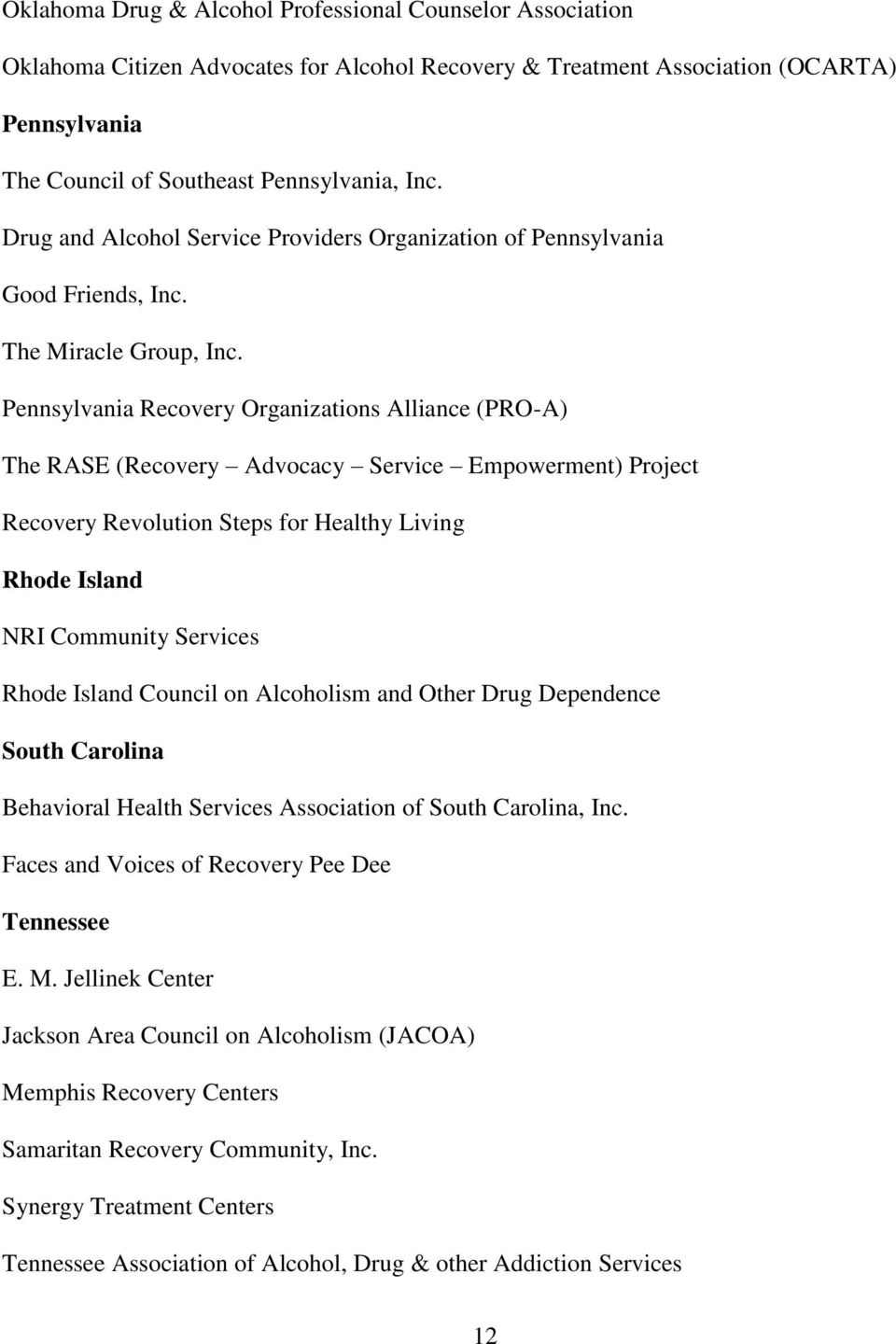 Pennsylvania Recovery Organizations Alliance (PRO-A) The RASE (Recovery Advocacy Service Empowerment) Project Recovery Revolution Steps for Healthy Living Rhode Island NRI Community Services Rhode