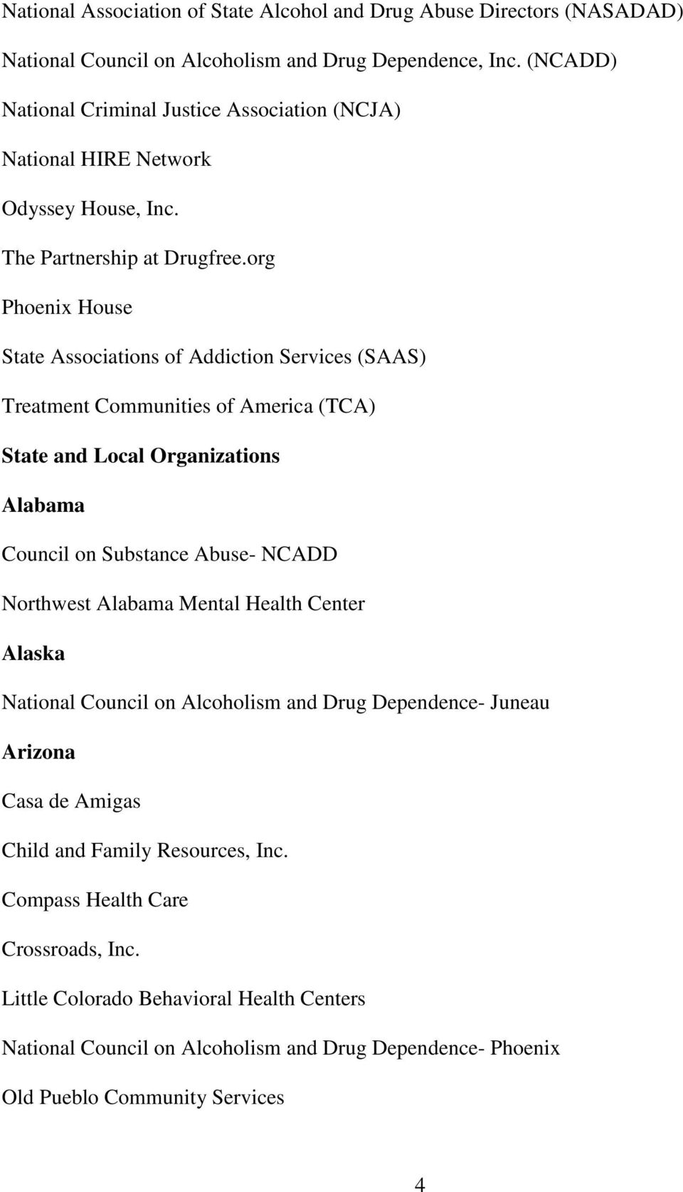 org Phoenix House State Associations of Addiction Services (SAAS) Treatment Communities of America (TCA) State and Local Organizations Alabama Council on Substance Abuse- NCADD Northwest