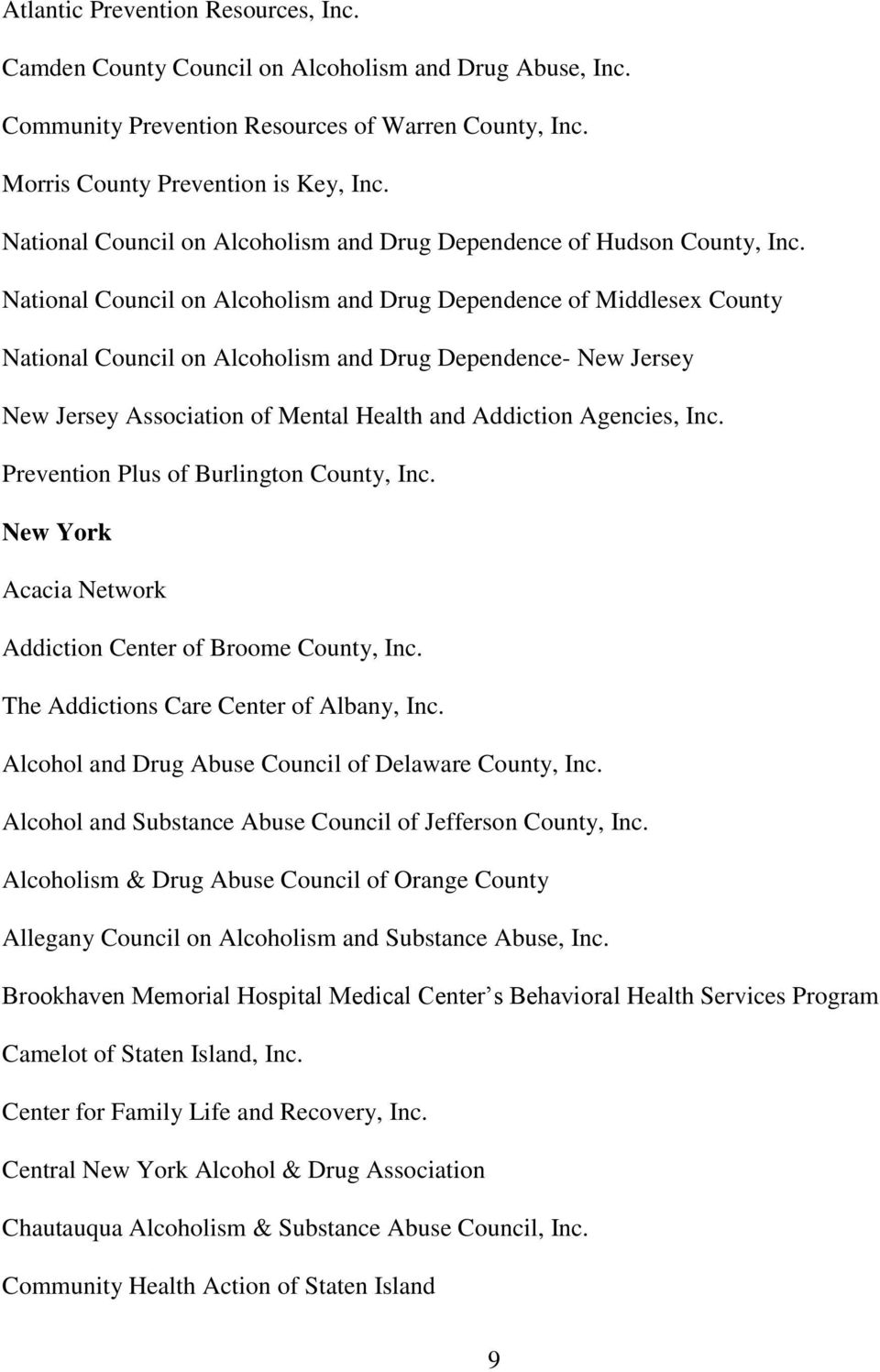 National Council on Alcoholism and Drug Dependence of Middlesex County National Council on Alcoholism and Drug Dependence- New Jersey New Jersey Association of Mental Health and Addiction Agencies,