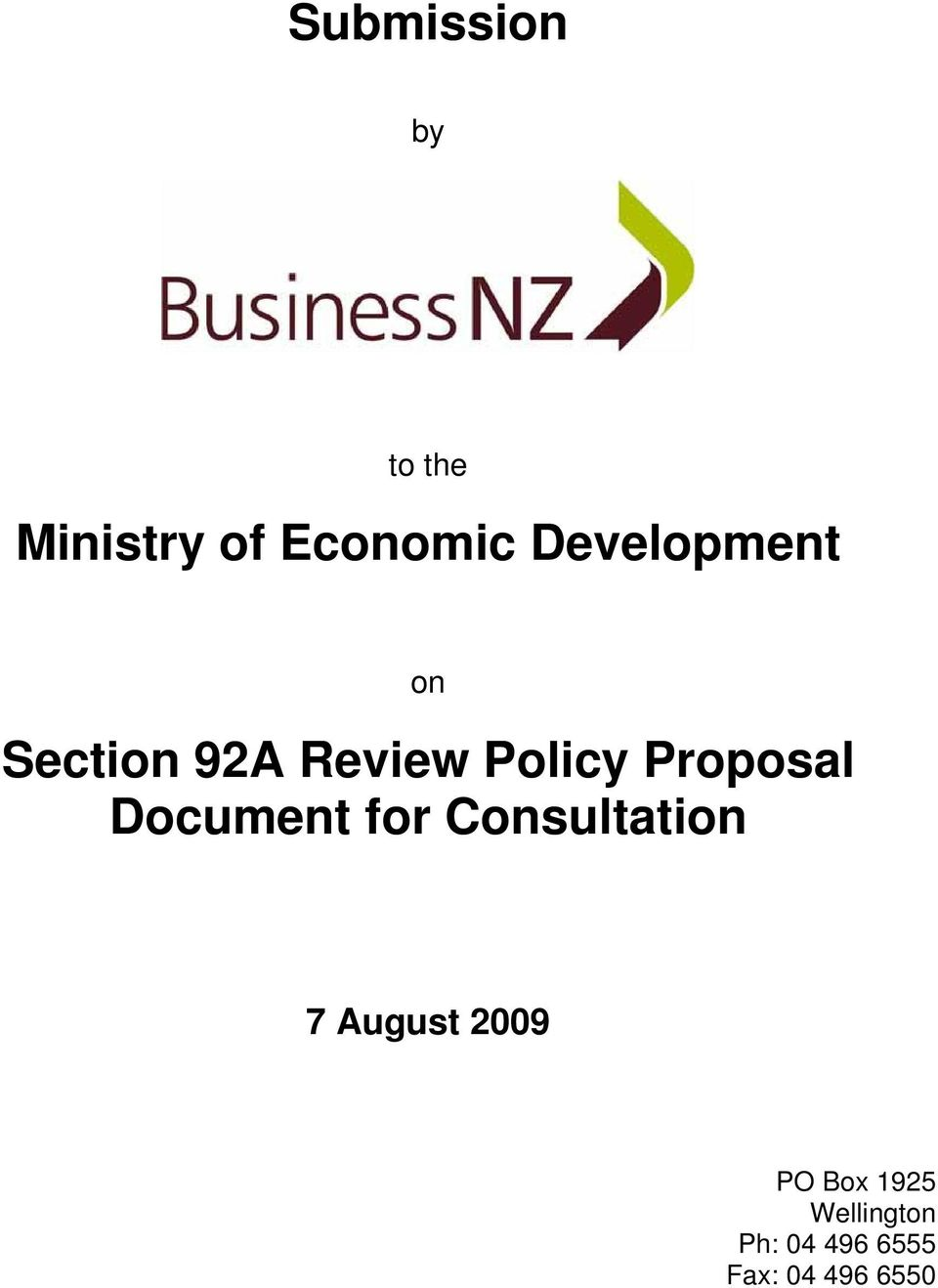 Proposal Document for Consultation 7 August