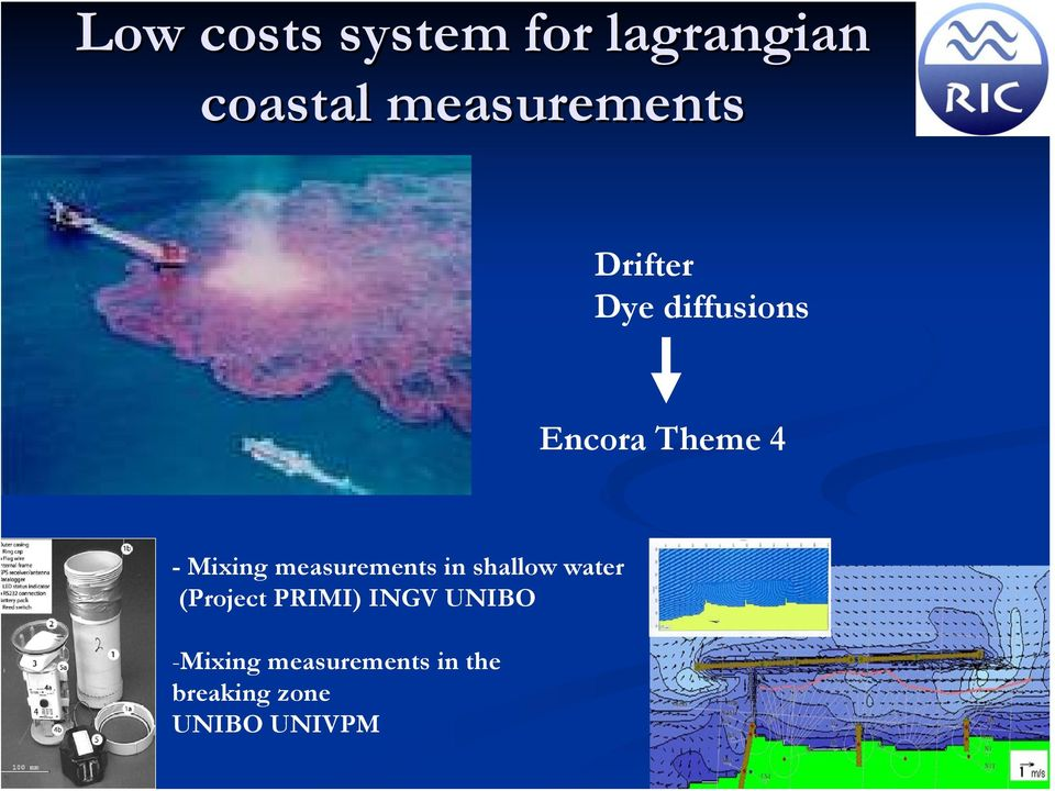 measurements in shallow water (Project PRIMI) INGV