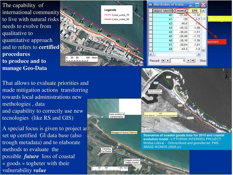 new tecnologies (like RS and GIS) A special focus is given to project and set up certified GI data base (also trough metadata) and to elaborate methods to evaluate the possible future loss of coastal