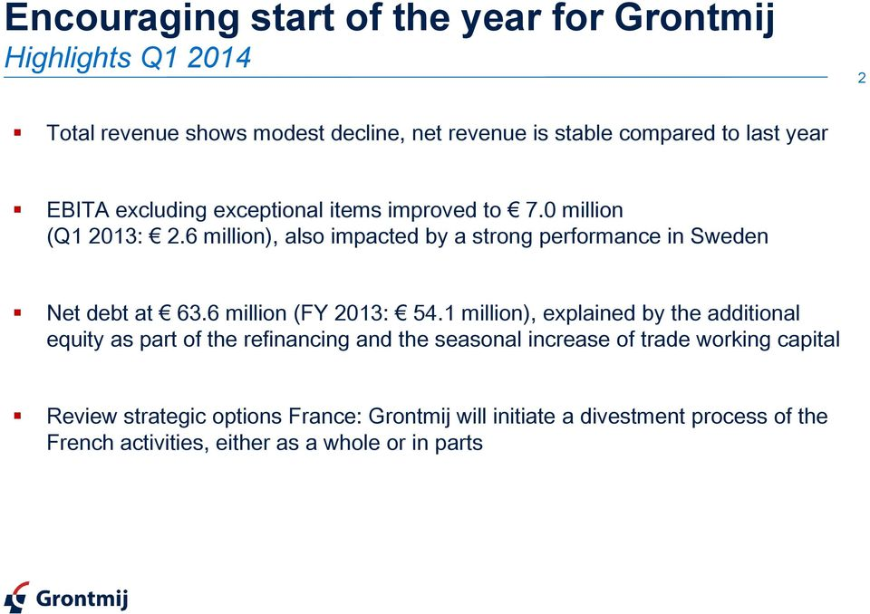 6 million), also impacted by a strong performance in Sweden Net debt at 63.6 million (FY 2013: 54.