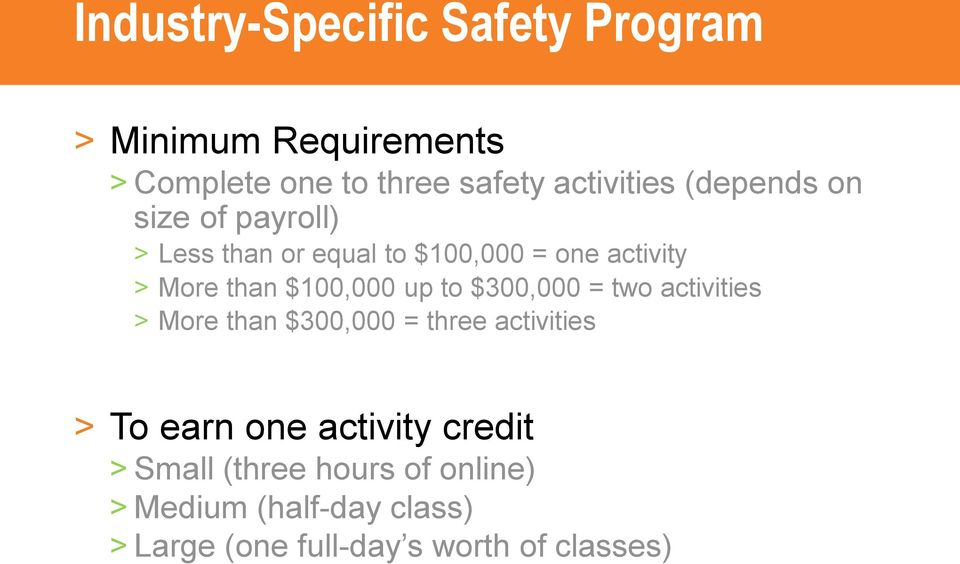 up to $300,000 = two activities > More than $300,000 = three activities > To earn one activity