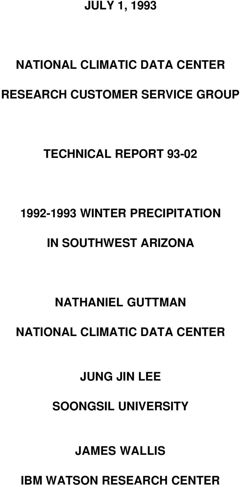IN SOUTHWEST ARIZONA NATHANIEL GUTTMAN NATIONAL CLIMATIC DATA