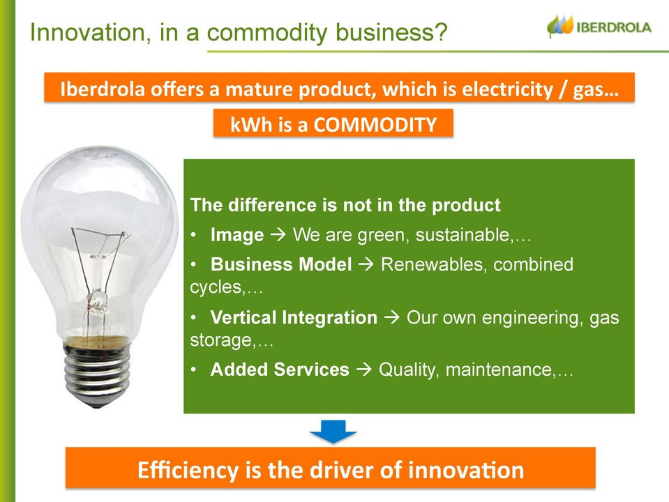 difference is not in the product Image à We are green, sustainable, Business Model à