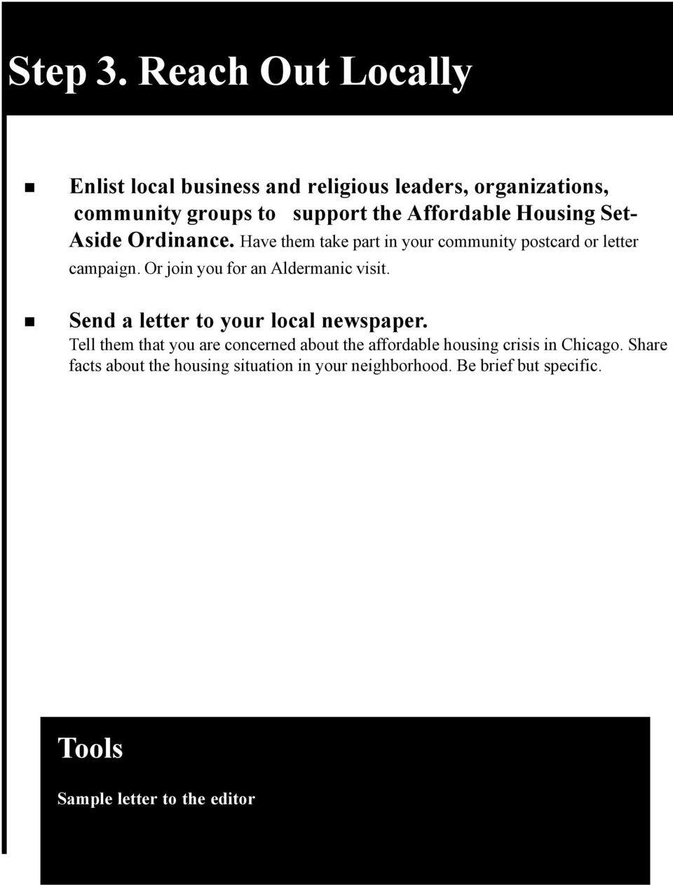 Housing Set- Aside Ordinance. Have them take part in your community postcard or letter campaign.