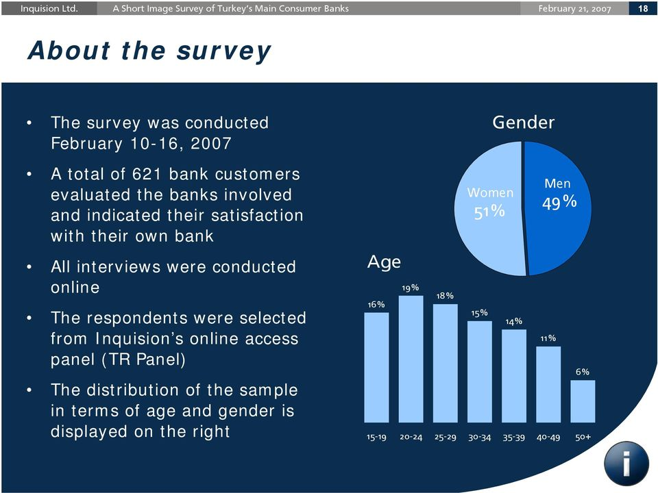 respondents were selected from Inquision s online access panel (TR Panel) The distribution of the sample in terms of age