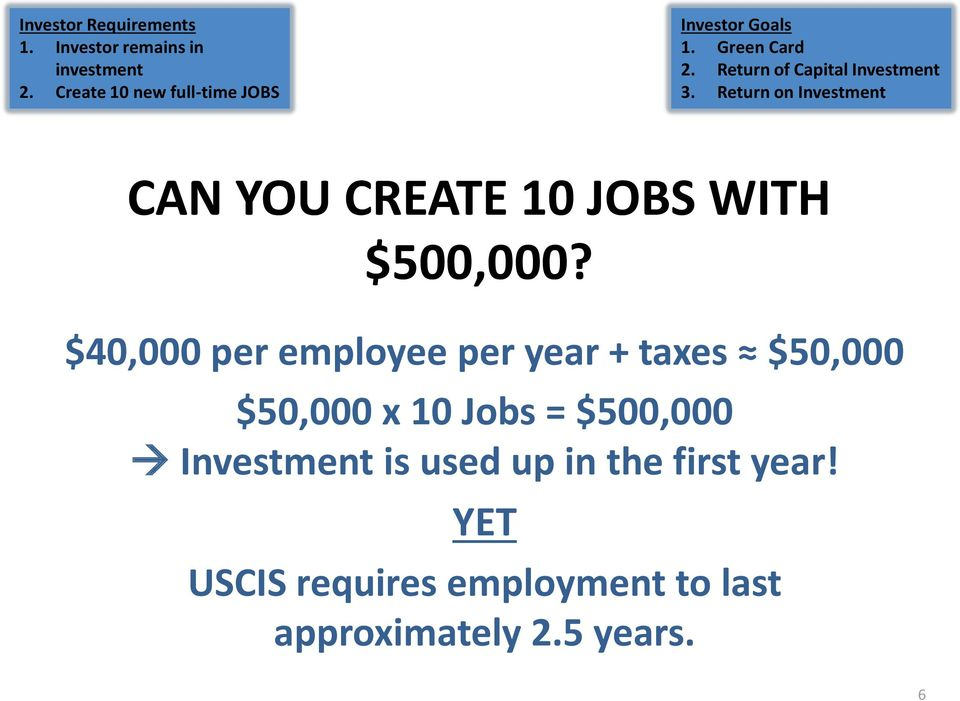 Return on Investment CAN YOU CREATE 10 JOBS WITH $500,000?