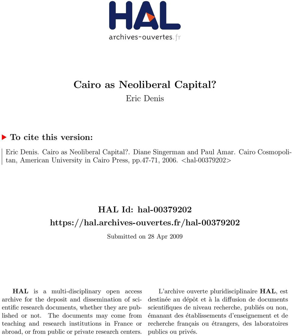 fr/hal-00379202 Submitted on 28 Apr 2009 HAL is a multi-disciplinary open access archive for the deposit and dissemination of scientific research documents, whether they are published or not.