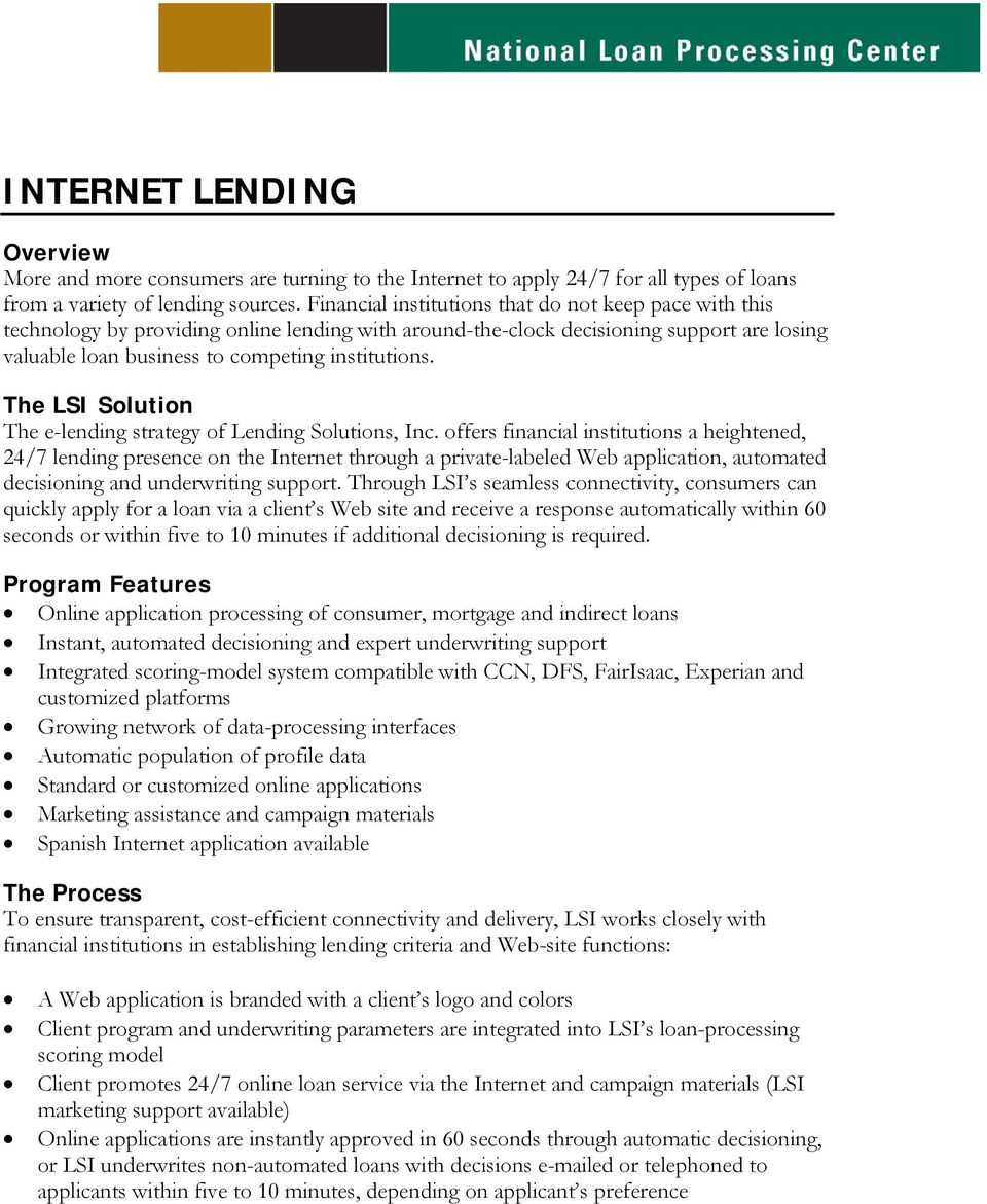 The LSI Solution The e-lending strategy of Lending Solutions, Inc.