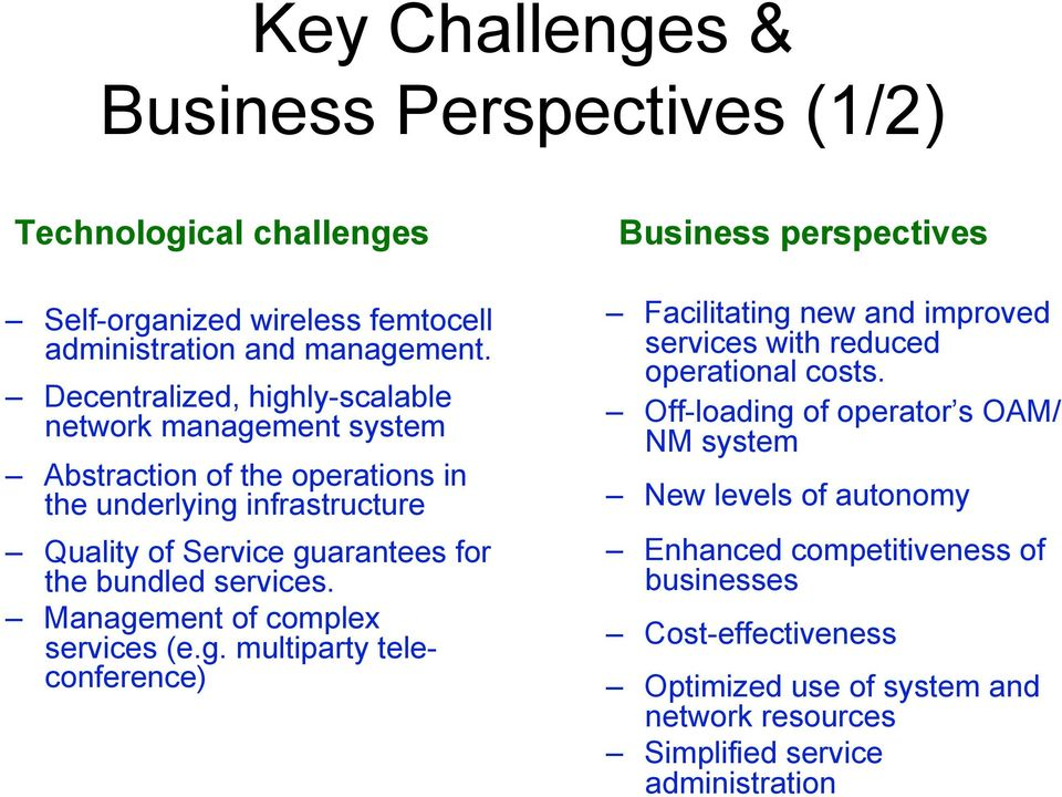 services. Management of complex services (e.g. multiparty teleconference) Business perspectives Facilitating new and improved services with reduced operational costs.