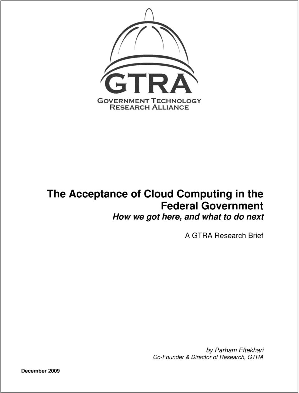 do next A GTRA Research Brief December 2009 by