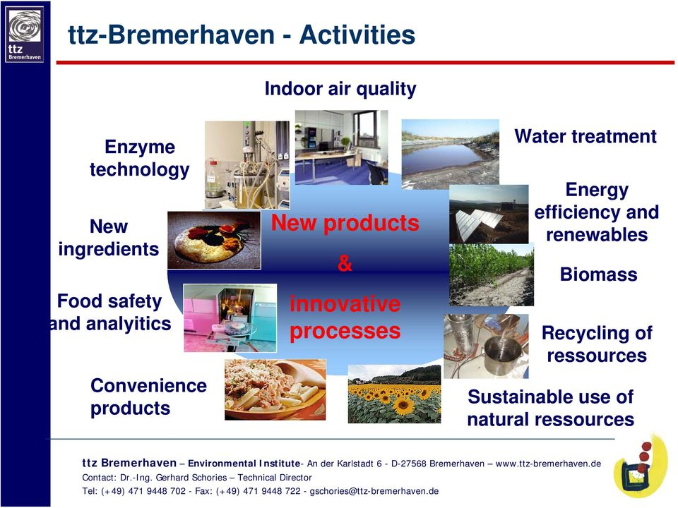 products & innovative processes Water treatment Energy efficiency and