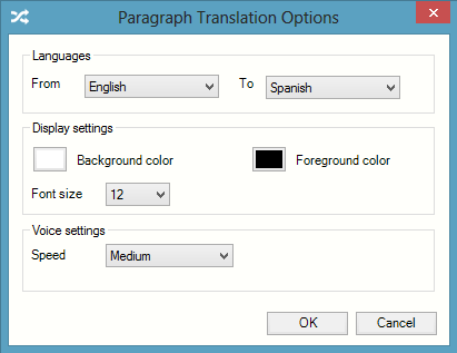 Exercise 4 Configuring the Paragraph Translation facility 1. Click on the drop down list on the toolbar and select Paragraph translation options.