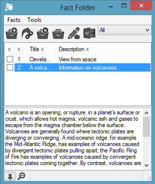 2. Click on the Volcano picture fact in the Fact Folder window. You will see a preview of the image in the Preview pane. 3. Click on the button. You will see the Fact Details window displayed. 4.