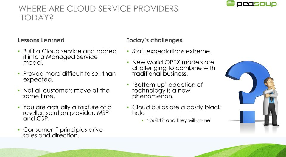 You are actually a mixture of a reseller, solution provider, MSP and CSP. Today s challenges Staff expectations extreme.