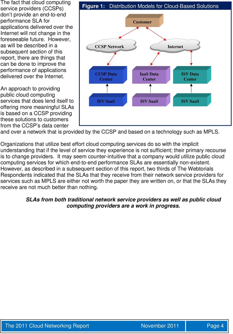 Figure 1: Distribution Models for Cloud-Based Solutions CCSP Network CCSP Data Center Customer IaaS Data Center Internet ISV Data Center An approach to providing public cloud computing services that