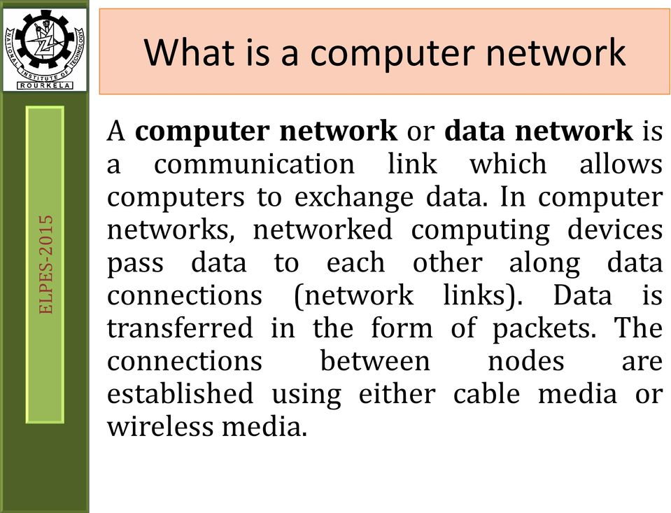 In computer networks, networked computing devices pass data to each other along data