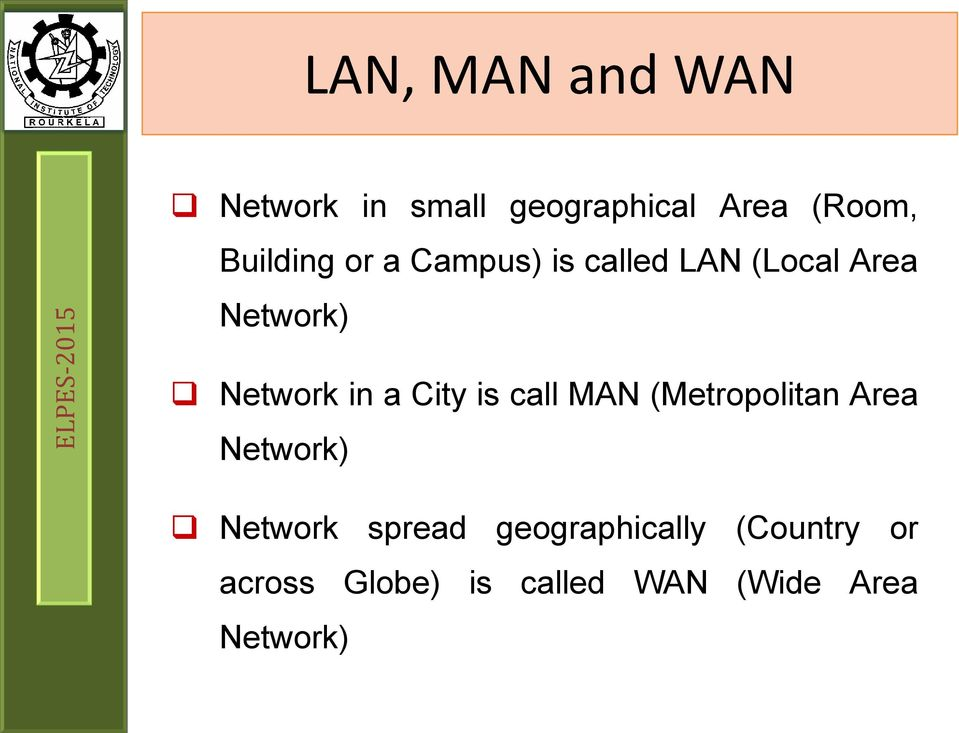 in a City is call MAN (Metropolitan Area Network) Network spread