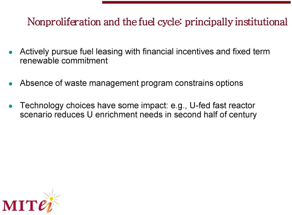 of waste management program constrains options Technology choices have some