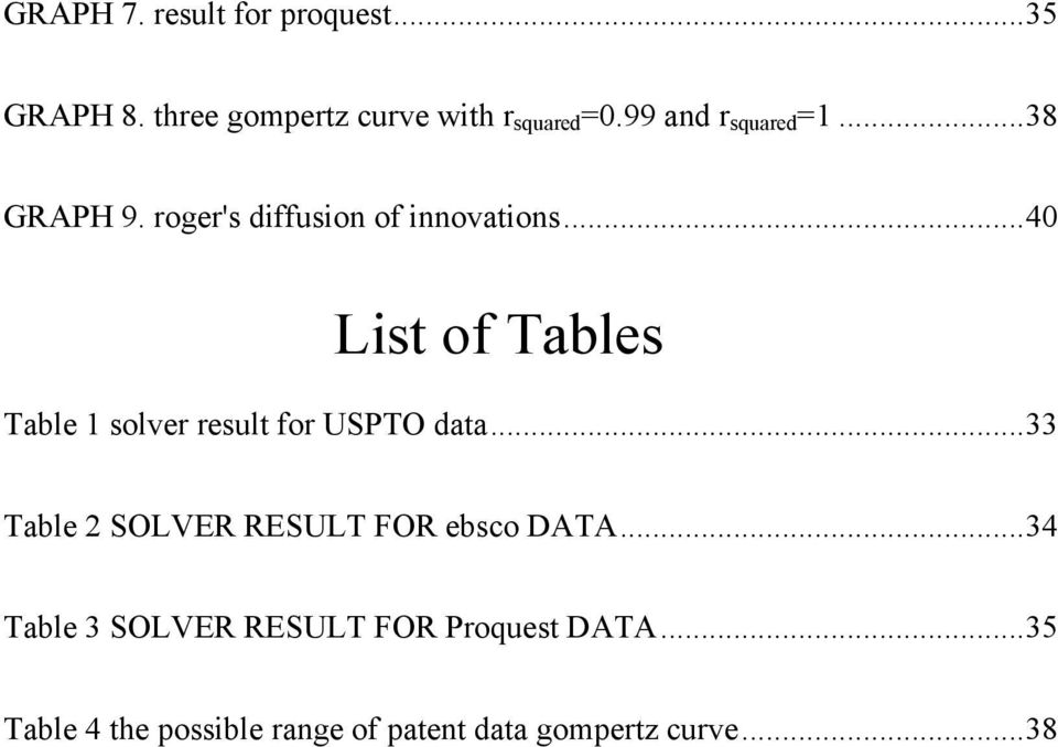 .. 40 List of Tables Table 1 solver result for USPTO data.