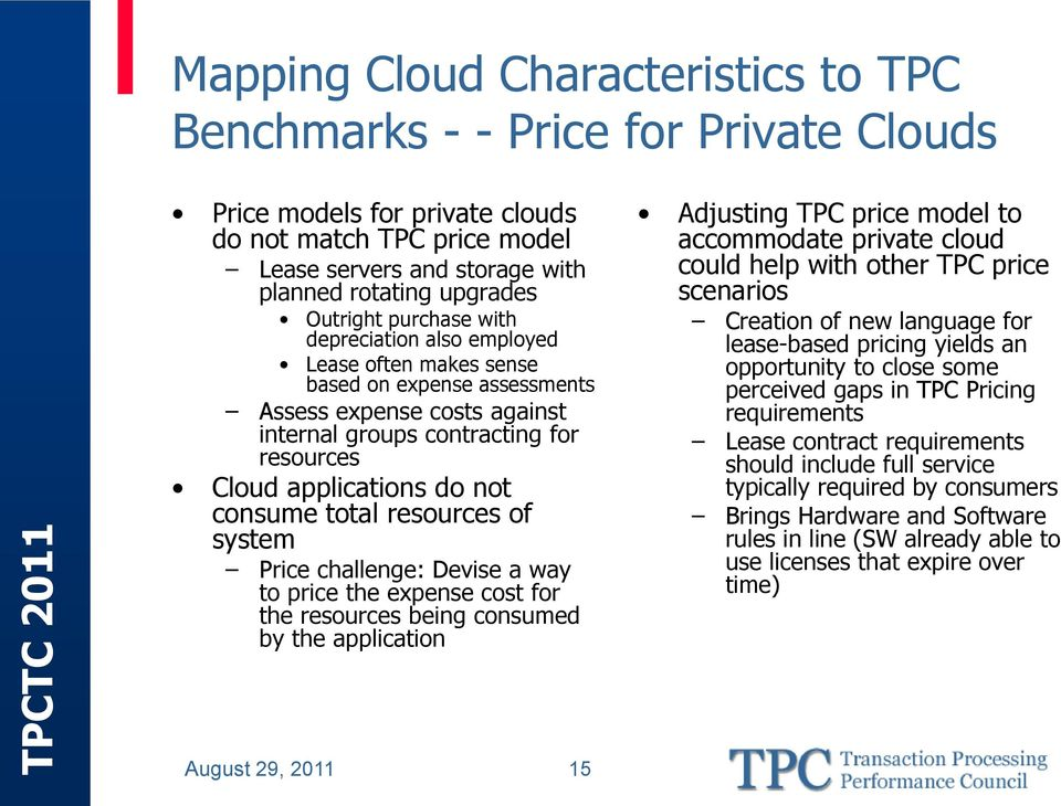 consume total resources of system Price challenge: Devise a way to price the expense cost for the resources being consumed by the application Adjusting TPC price model to accommodate private cloud