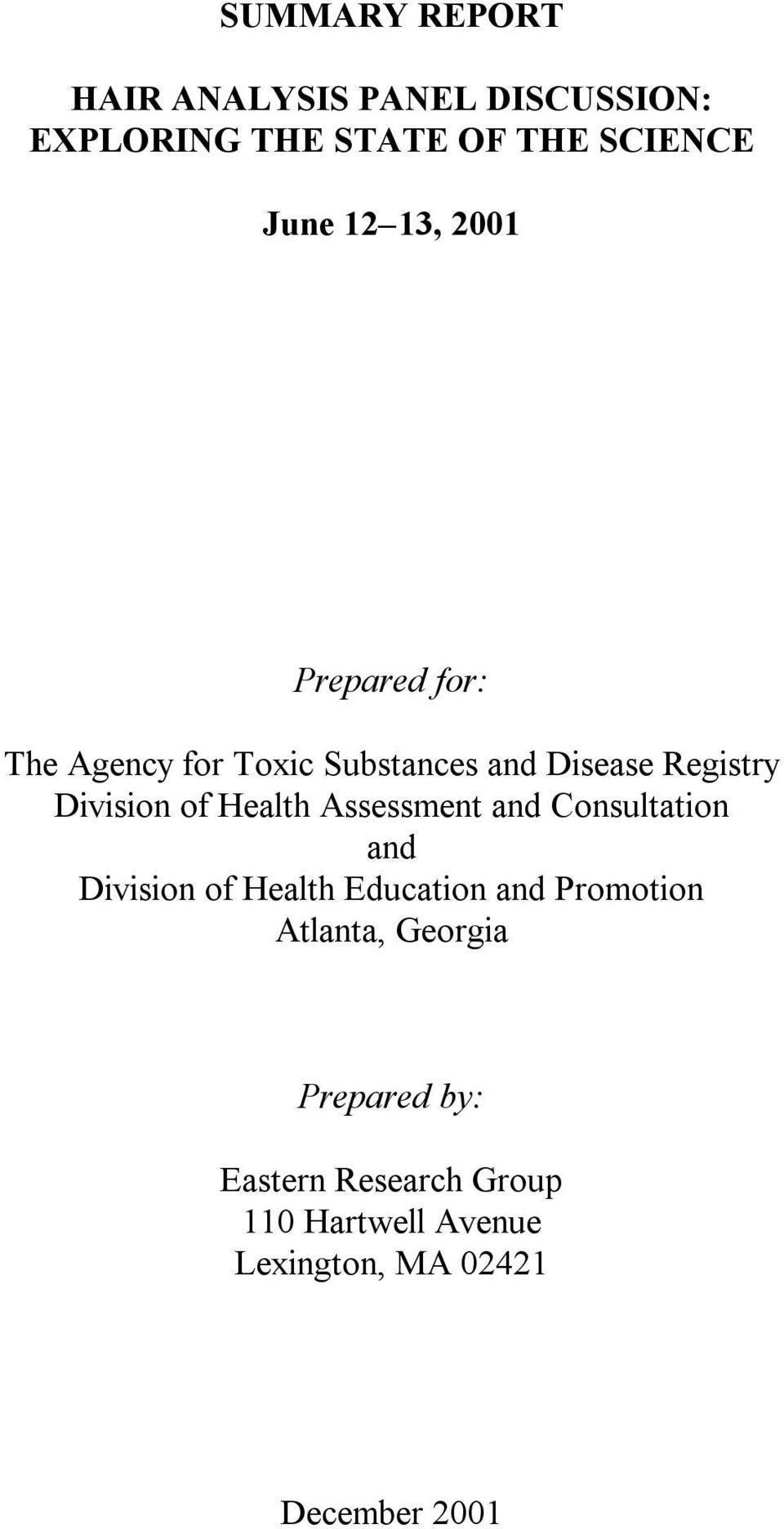Health Assessment and Consultation and Division of Health Education and Promotion Atlanta,