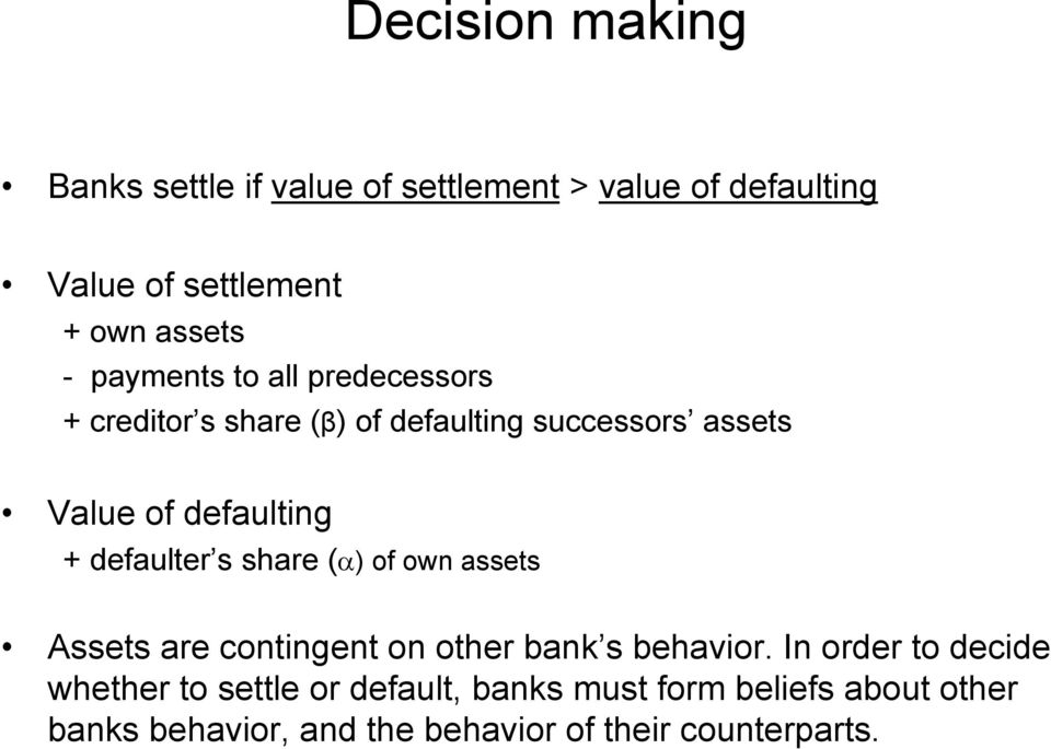 defaulter s share (α) of own assets Assets are contingent on other bank s behavior.