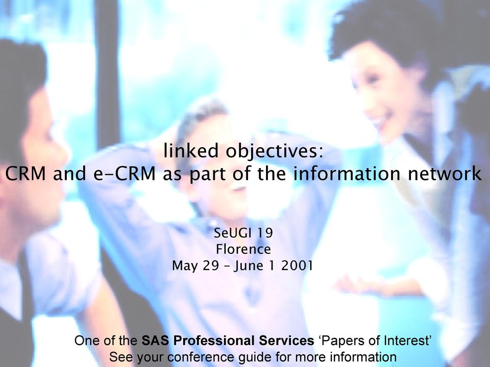2001 One of the SAS Professional Services Papers of