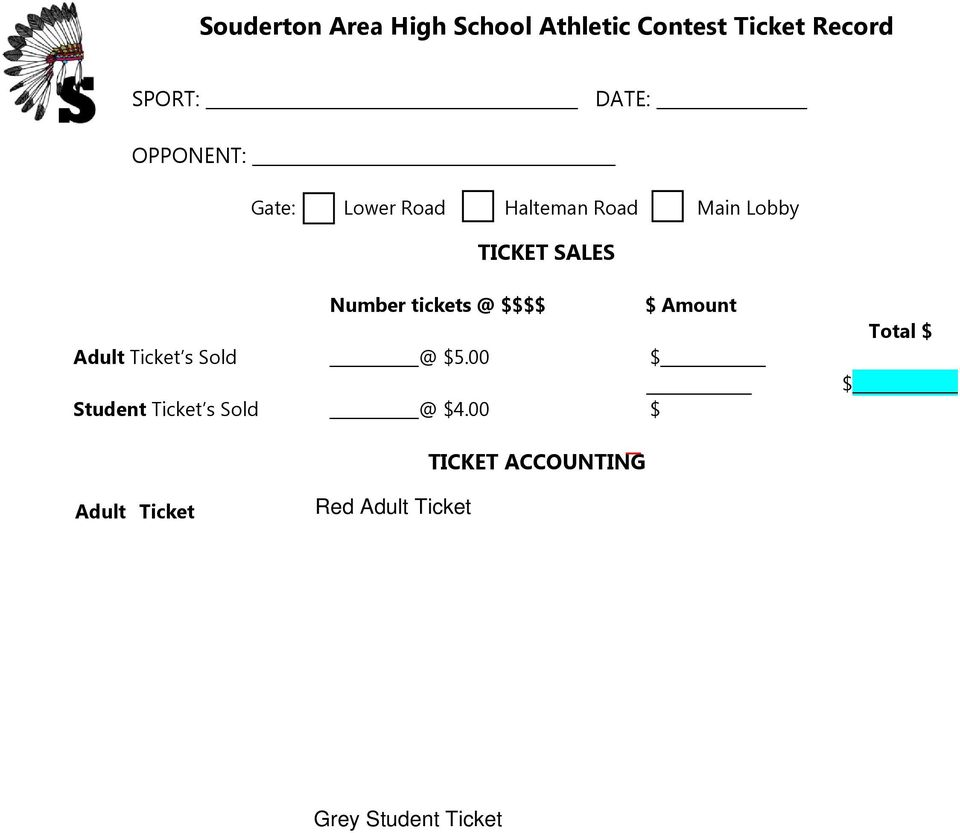 00 $ Student Ticket s Sold @ $4.
