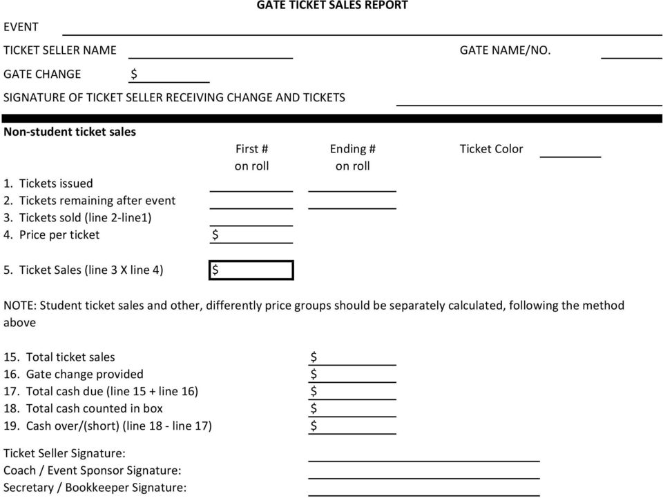 Ticket Sales (line 3 X line 4) $ NOTE: Student ticket sales and other, differently price groups should be separately calculated, following the method above 15.