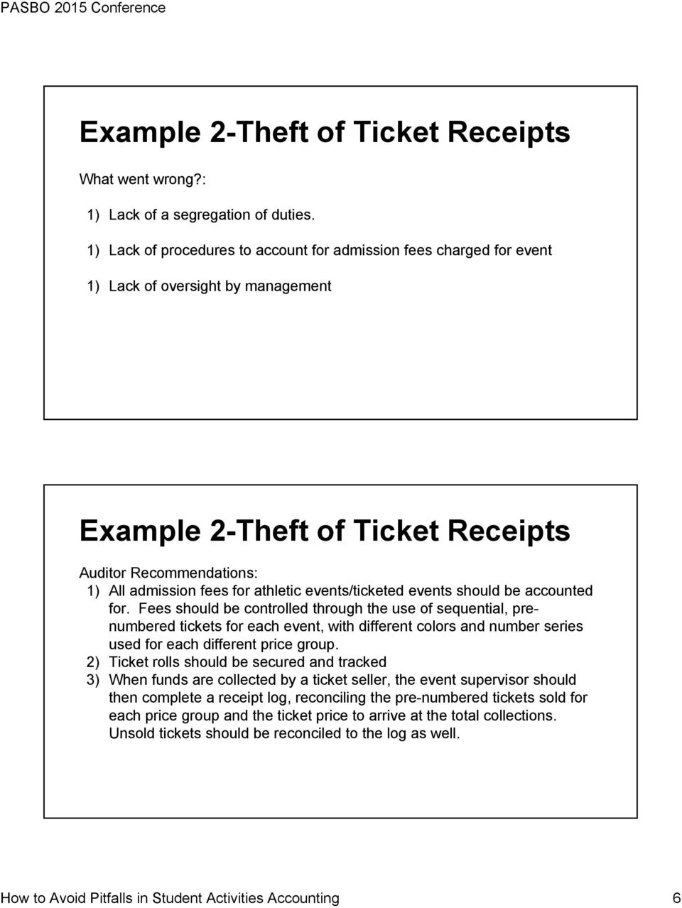 events/ticketed events should be accounted for.