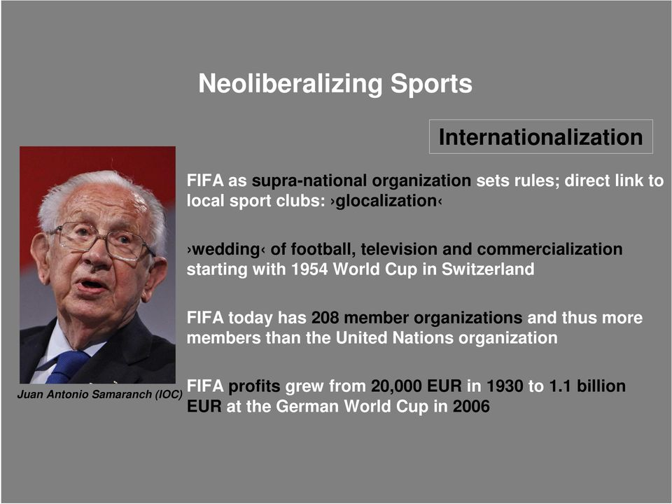 Switzerland FIFA today has 208 member organizations and thus more members than the United Nations organization